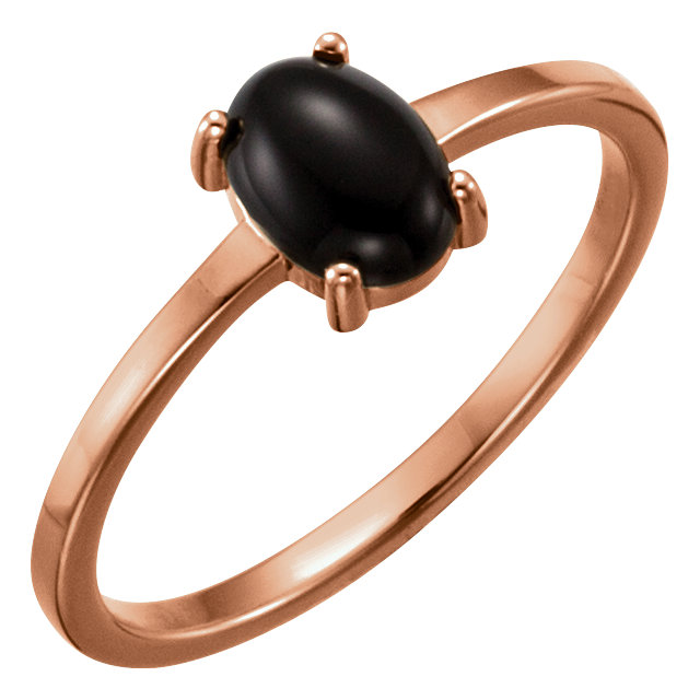 Contemporary 14 Karat Rose Gold 7x5mm Oval Onyx Cabochon Ring