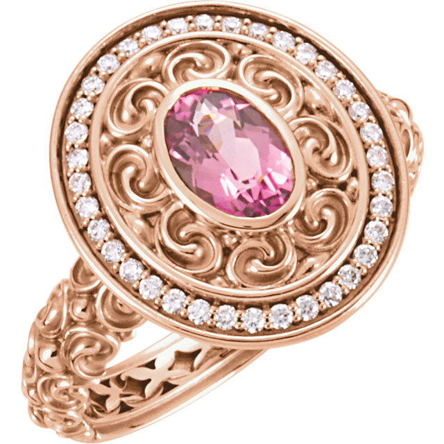 Wonderful 14 Karat Rose Gold 7x5mm Pink Tourmaline & 0.20 Carat Diamond Ring