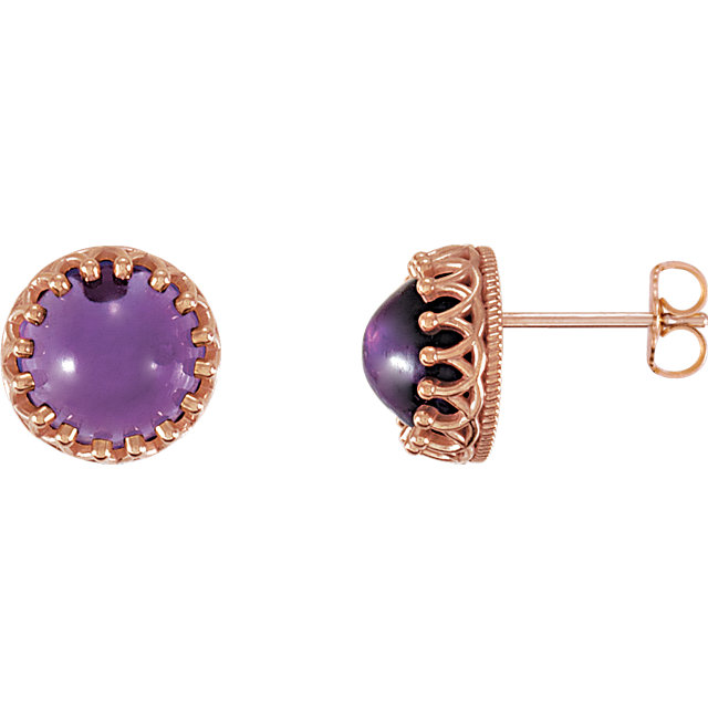 Great Buy in 14 Karat Rose Gold 8mm Round Amethyst Earrings