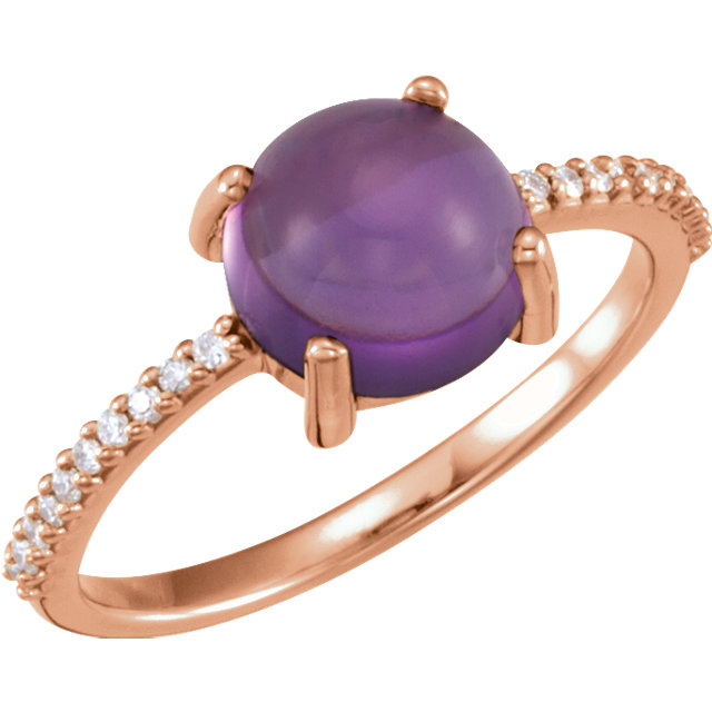 Perfect Jewelry Gift 14 Karat Rose Gold 8mm Round Cabochon Amethyst & 0.10 Carat Total Weight Diamond Ring