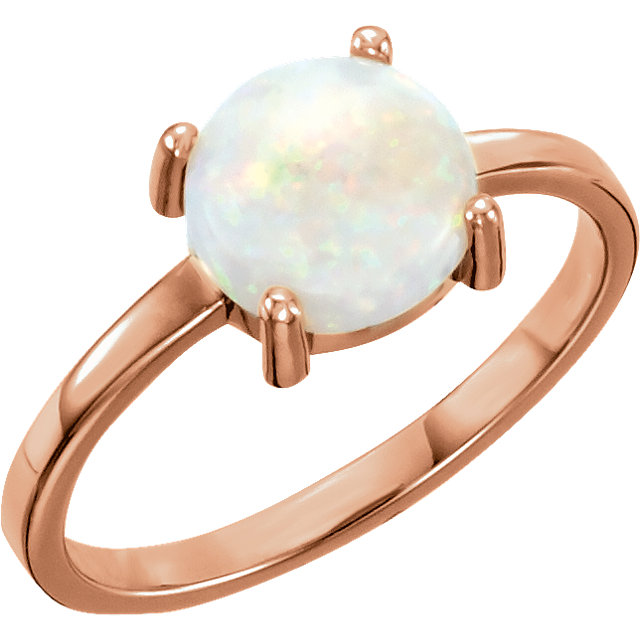 Genuine 14 KT Rose Gold 8mm Round Opal Cabochon Ring