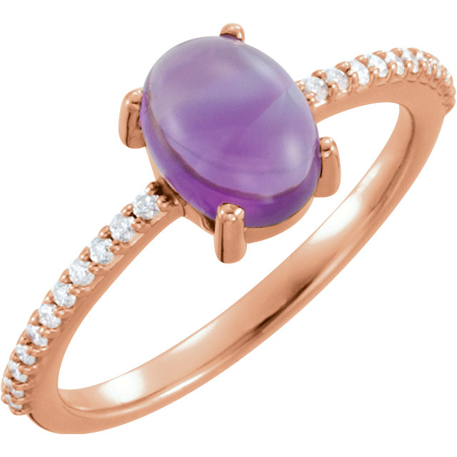 Eye Catchy 14 Karat Rose Gold 8x6mm Oval Cabochon Amethyst & 0.10 Carat Total Weight Diamond Ring