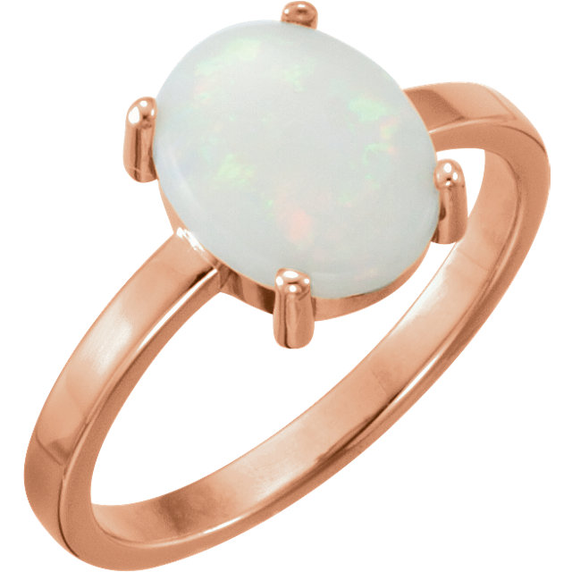 Fine Quality 14 Karat Rose Gold 9x7mm Oval Opal Cabochon Ring