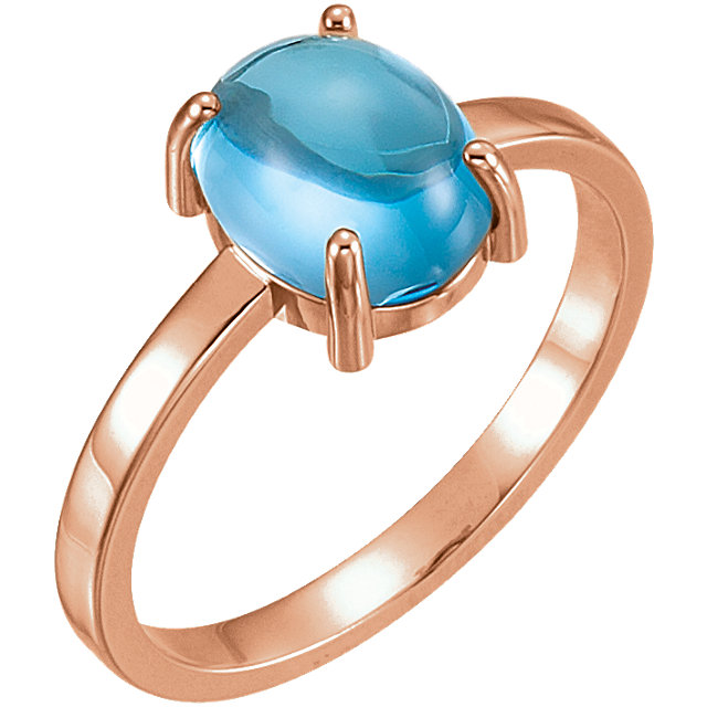 Genuine 14 Karat Rose Gold 9x7mm Oval Swiss Blue Topaz Cabochon Ring