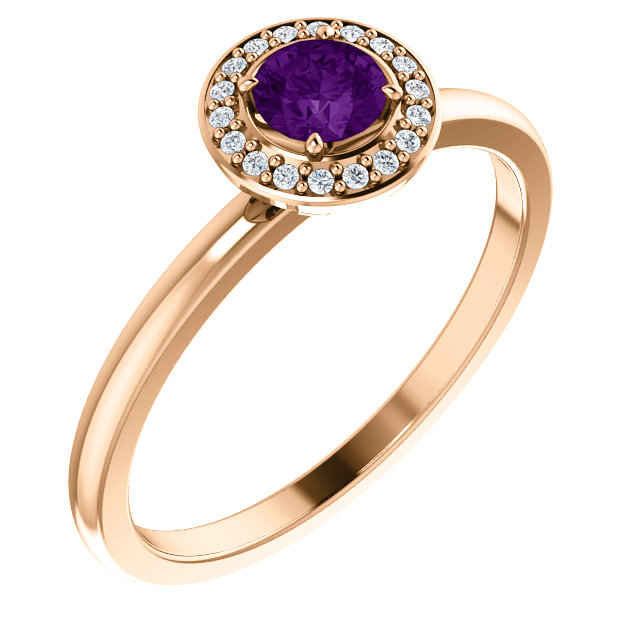 Perfect Jewelry Gift 14 Karat Rose Gold Amethyst & .05 Carat Total Weight Diamond Ring