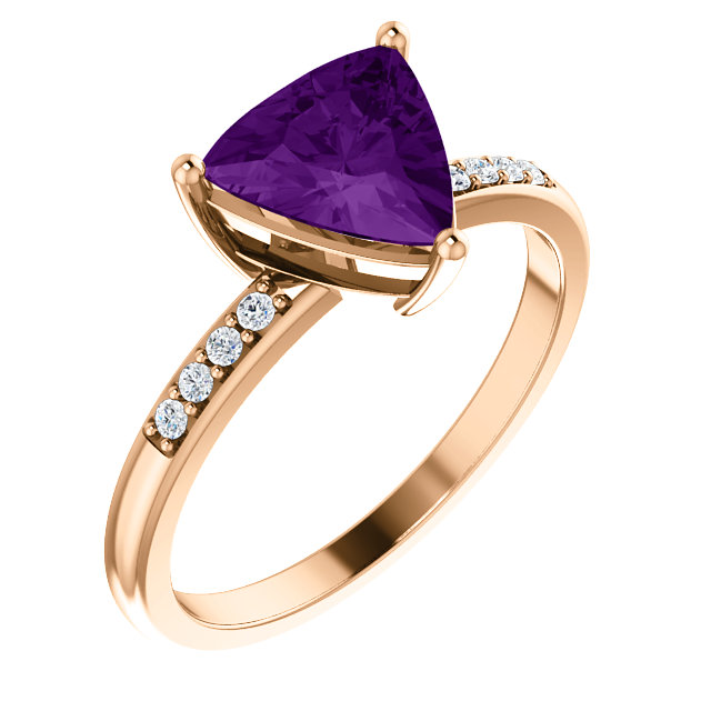 Surprise Her with  14 Karat Rose Gold Amethyst & .08 Carat Total Weight Diamond Ring