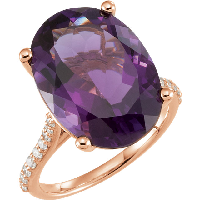 Fine Quality 14 Karat Rose Gold Amethyst & 0.25 Carat Total Weight Diamond Ring