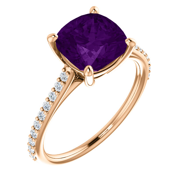 Very Nice 14 Karat Rose Gold Amethyst & 0.20 Carat Total Weight Diamond Ring