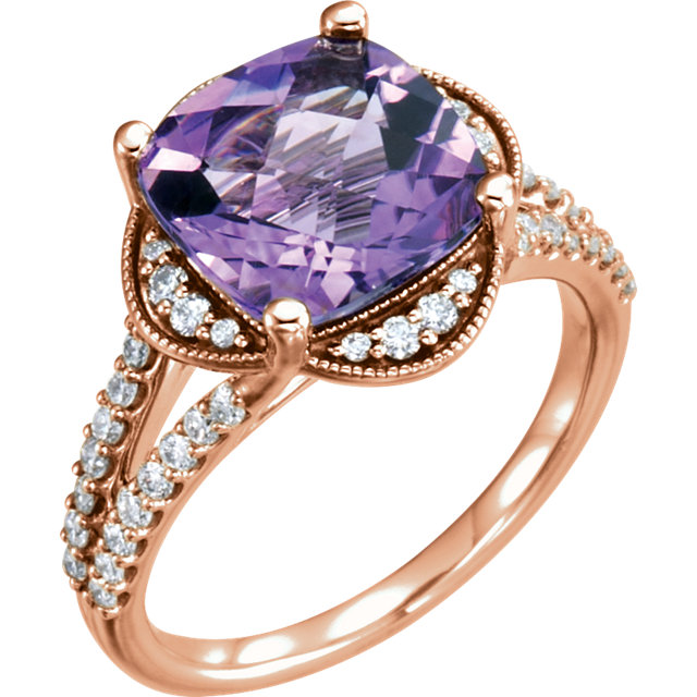 Great Deal in 14 Karat Rose Gold Amethyst & 0.40 Carat Total Weight Diamond Ring