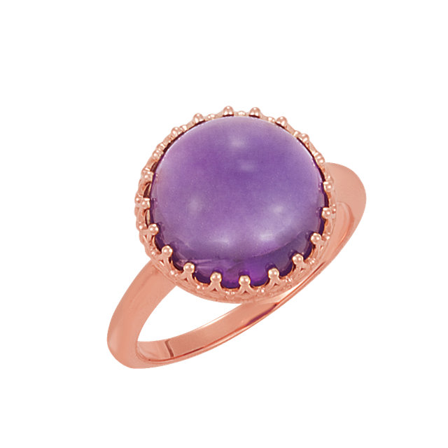 Wonderful 14 Karat Rose Gold Amethyst Crown Design Cabochon Ring
