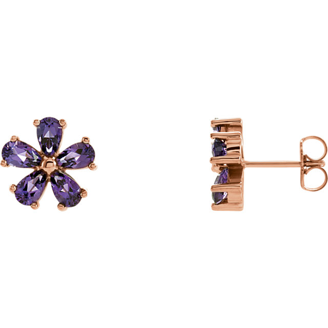 Great Buy in 14 KT Rose Gold Amethyst Earrings