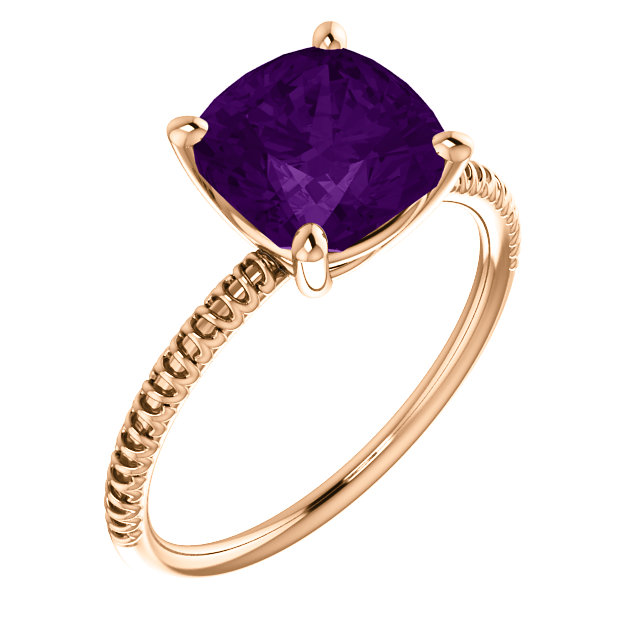 Surprise Her with  14 Karat Rose Gold Amethyst Ring