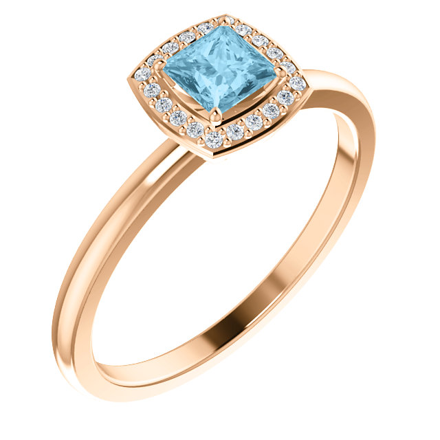 Appealing Jewelry in 14 Karat Rose Gold Aquamarine & .05 Carat Total Weight Diamond Ring