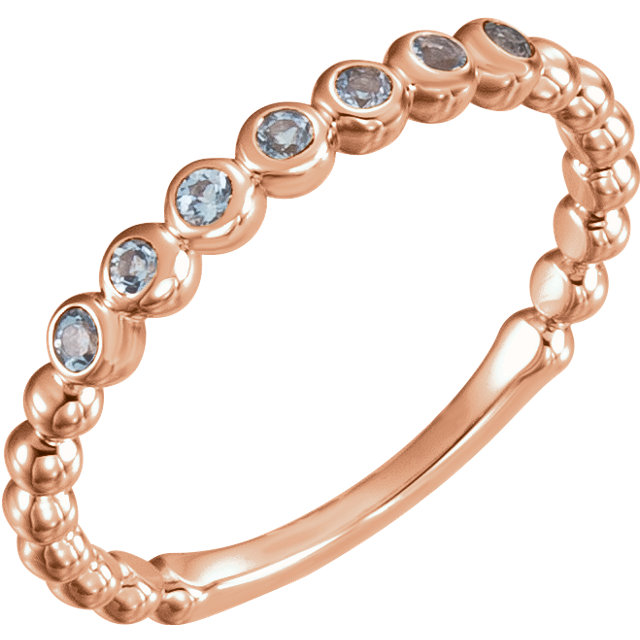 Contemporary 14 Karat Rose Gold Aquamarine Stackable Ring