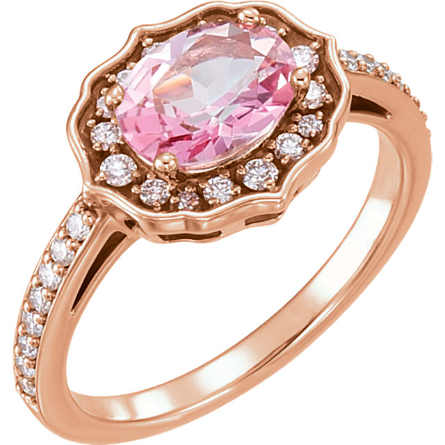 14 Karat Rose Gold Baby Pink Topaz & 0.33 Carat Diamond Ring