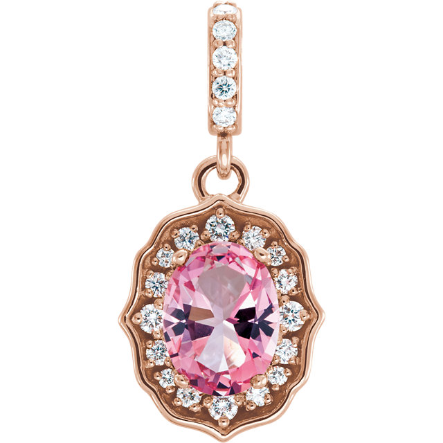 Beautiful 14 Karat Rose Gold Baby Pink Topaz & 0.17Carat Total Weight Diamond Pendant