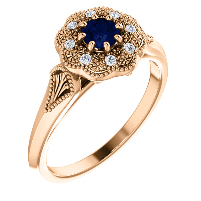 Chic 14 Karat Rose Gold Blue Sapphire & .06 Carat Total Weight Diamond Ring Vintage-Inspired Halo-Style Ring