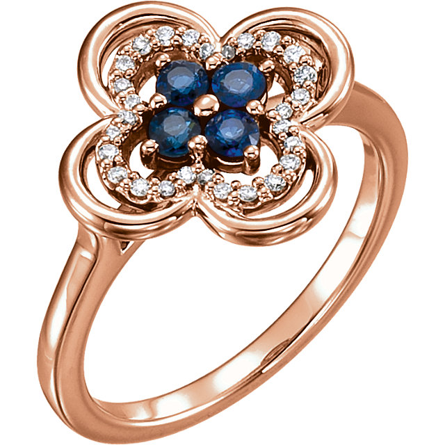 Genuine 14 Karat Rose Gold Blue Sapphire & 0.10 Carat Diamond Clover Ring
