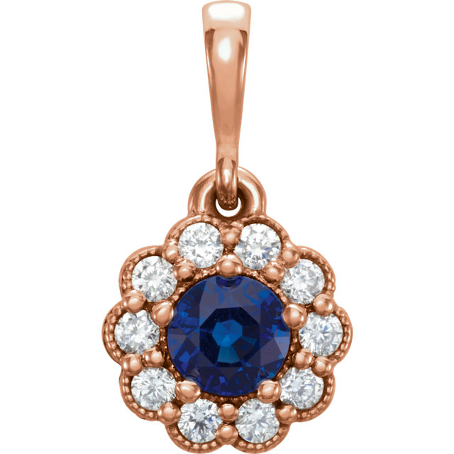 Terrific 14 Karat Rose Gold Round Genuine Blue Sapphire & 1/6 Carat Total Weight Diamond Pendant