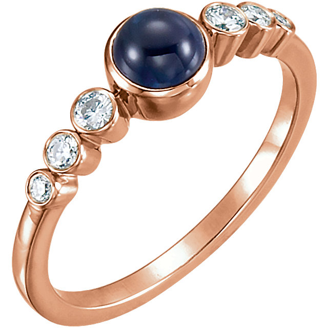 Great Buy in 14 Karat Rose Gold Blue Sapphire & 0.17 Carat Total Weight Diamond Ring