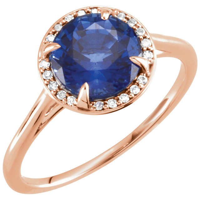 Great Deal in 14 Karat Rose Gold Genuine Chatham Created Created Blue Sapphire & .05 Carat Total Weight Diamond Ring