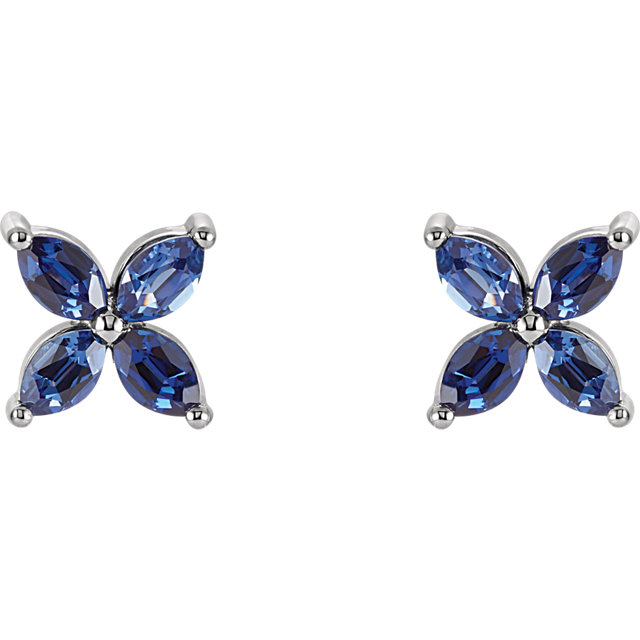 14KT Rose Gold Chatham Created Blue Sapphire Earrings