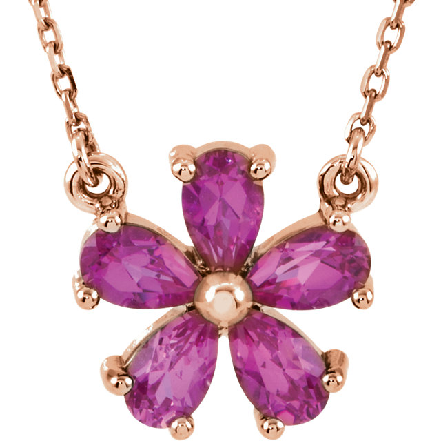 Eye Catchy 14 Karat Rose Gold Genuine Chatham Created Created Pink Sapphire 16