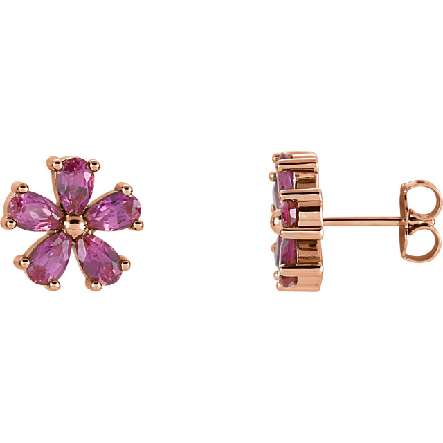 Fine 14 KT Rose Gold Genuine Chatham Created Created Pink Sapphire Earrings