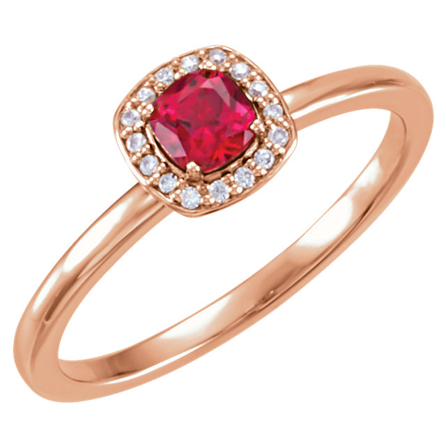 Gorgeous 14 Karat Rose Gold Genuine Chatham Created Created Ruby & .04 Carat Total Weight Diamond Halo-Style Ring