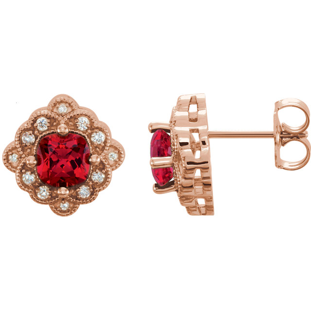 Great Gift in 14 Karat Rose Gold Genuine Chatham Created Created Ruby & 0.10 Carat Total Weight Diamond Earrings
