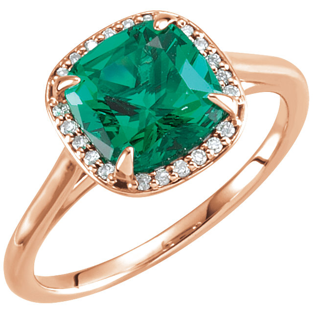 14 Karat Rose Gold Emerald & .055 Carat Diamond Halo-Style Ring