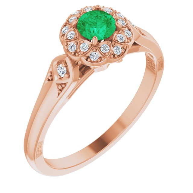 Genuine Emerald Ring in 14 Karat Rose Gold Emerald & 0.10 Carat Diamond Ring