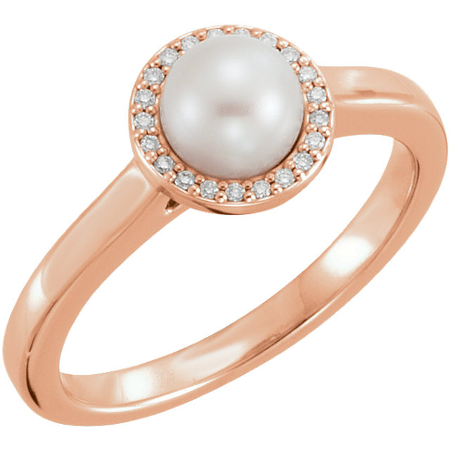 Perfect Jewelry Gift 14 Karat Rose Gold Freshwater Cultured Pearl & .05 Carat Total Weight Diamond Halo-Style Ring