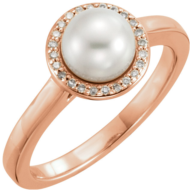 Very Nice 14 Karat Rose Gold Freshwater Cultured Pearl & .06 Carat Total Weight Diamond Halo-Style Ring