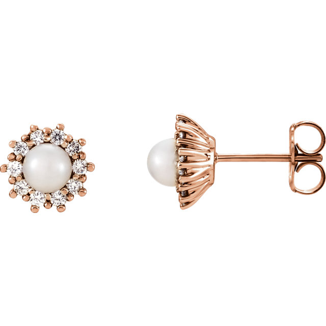 Must See 14 KT Rose Gold Freshwater Cultured Pearl & 0.33 Carat TW Diamond Earrings