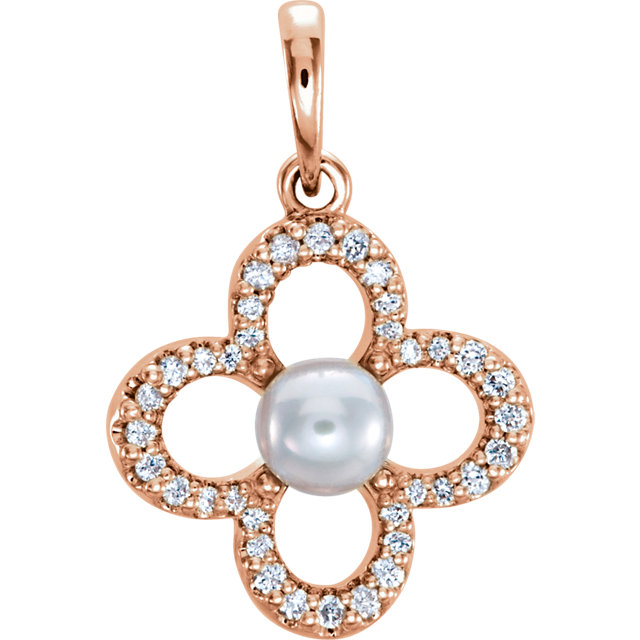 Quality 14 KT Rose Gold Freshwater Cultured Pearl & 0.17 Carat TW Diamond Pendant