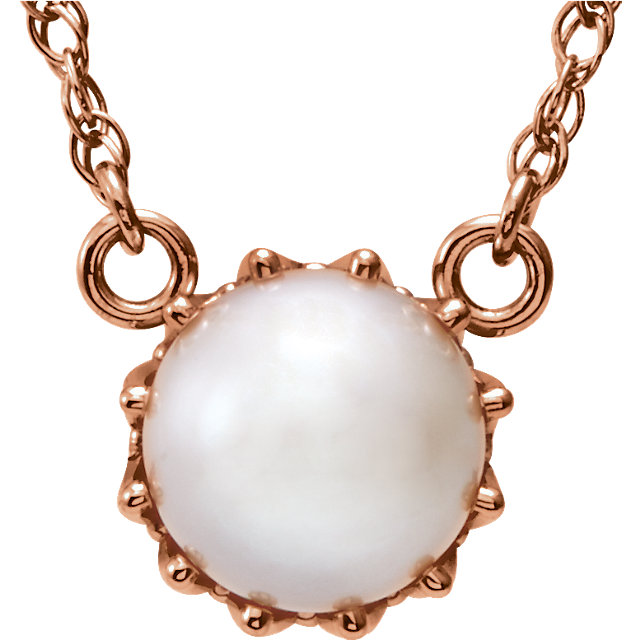 Low Price on Quality 14 KT Rose Gold Freshwater Cultured Pearl 18