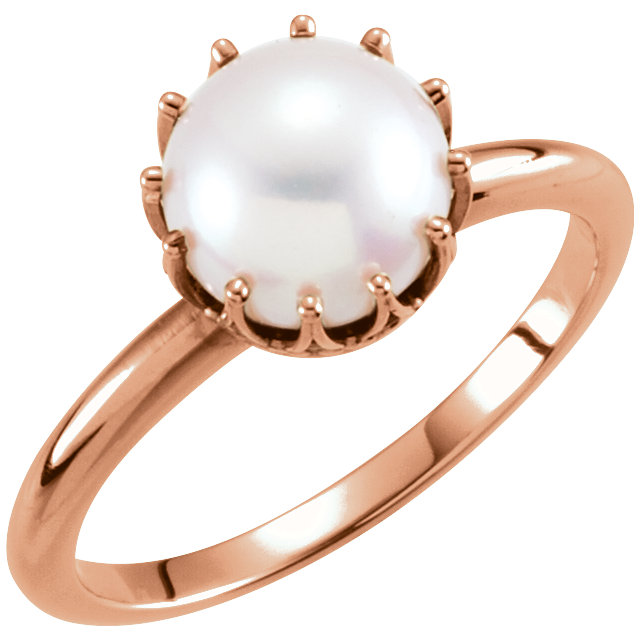 Contemporary 14 Karat Rose Gold Freshwater Cultured Pearl Ring