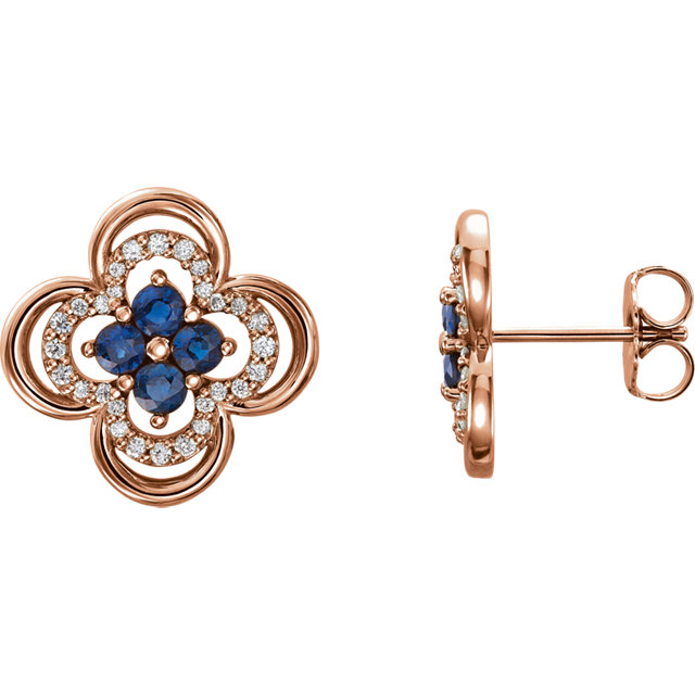 Perfect Jewelry Gift 14 Karat Rose Gold Blue Sapphire & 0.20 Carat Total Weight Diamond Clover Earrings