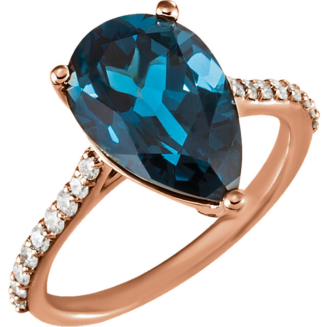 Remarkable 14 Karat Rose Gold Pear Genuine London Blue Topaz & 1/4 Carat Total Weight Diamond Ring