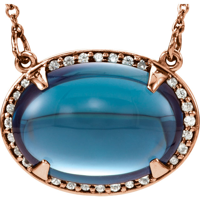 Chic 14 Karat Rose Gold London Blue Topaz & .08 Carat Total Weight Diamond Halo-Style 16.5