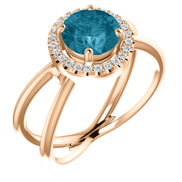 Magnificent 14 Karat Rose Gold Round Genuine London Blue Topaz & 1/10 Carat Total Weight Diamond Halo-Style Ring