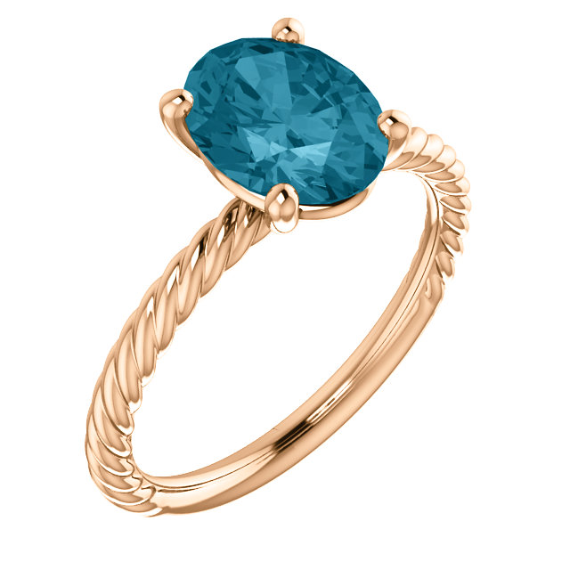 Incredible 14 Karat Rose Gold Oval Genuine London Blue Topaz Ring