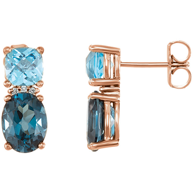 Perfect Jewelry Gift 14 Karat Rose Gold London Blue Topaz, Swiss Blue Topaz & .01 Carat Total Weight Diamond Earrings