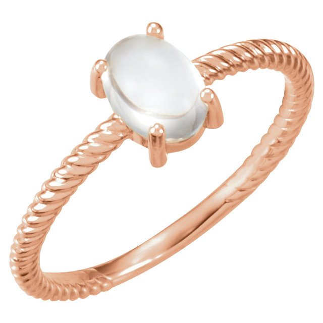 Appealing Jewelry in 14 Karat Rose Gold Moonstone Cabochon Ring