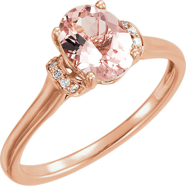 Chic 14 Karat Rose Gold Morganite & .05 Carat Total Weight Diamond Ring