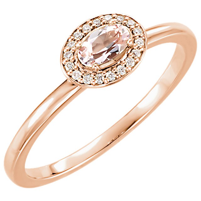 Stunning 14 Karat Rose Gold Morganite & .05 Carat Total Weight Diamond Ring