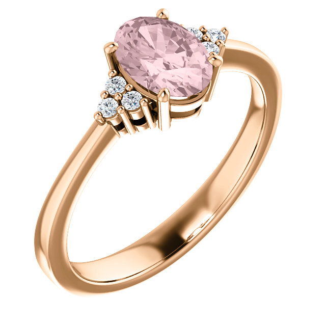 Attractive 14 Karat Rose Gold Oval Genuine Morganite & .06 Carat Total Weight Diamond Ring