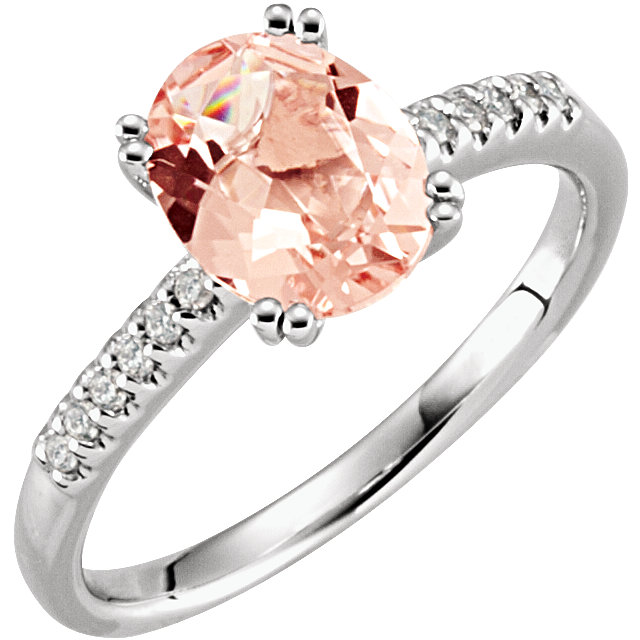 14KT Rose Gold Morganite & .08 Carat Total Weight Diamond Ring