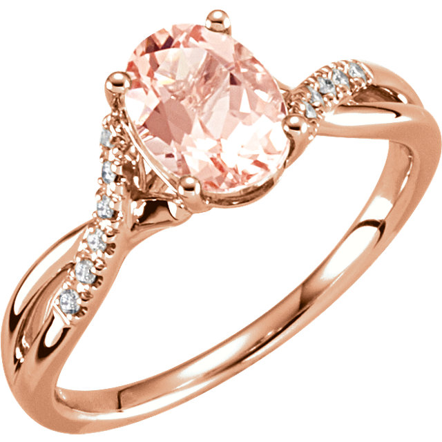 14 Karat Rose Gold Oval Genuine Morganite & .06 Carat Diamond Ring Size 7